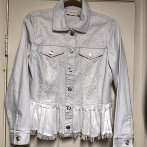 Chico's NWT Denim and lace jean jacket